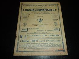 """CATALOGUE De 1939 PARFUMERIE FRANCAISE """" ETOILE """" ETABLISSEMENTS J.THOMAS, GUINAMAND & Cie SAINT-ETIENNE-TERRENOIRE (AD) - Cataloghi"""