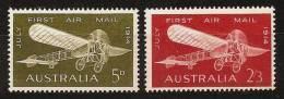 AUSTRALIA 1964 - 50th Anniv FIRST AIRMAIL / Bleriot XI Avion - Compl Mi 346-347 MNH ** K028 - 1952-65 Elizabeth II: Dezimalausgaben (Vorläufer)