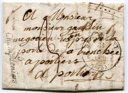 DEUX SEVRES De  CHAMPDENIERS LAC Du 30/12/1836 Avec Cursive + Dateur T13 De ST MAIXENT Taxée 3 Pour POITIERS - Marcophilie (Lettres)
