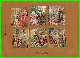 Six Chromos Découpis Motif - Rois Reines Scénes (recto Verso) - Découpis