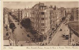 CPA - TUNIS - PLACE ANATOLE FRANCE - AVENUE DE PARIS ET AVENUE THÉODORE ROUSTAN - 181 - TIMBRES DU SECOURS NATIONAL 1941 - Túnez