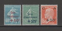FRANCE / 1927 / Y&T N° 246/248 ** : 1ère Caisse D'Amortissement (3 Valeurs) - Gomme D'origine Intacte - France