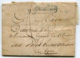 Marque Linéaire Bleue N°18 ARMEE D ALLEMAGNE Sur LAC Du 19/09/1809 Taxée 8 Pour PONT DE BEAUVOISIN ( 4 Scans) - Marcofilia (sobres)