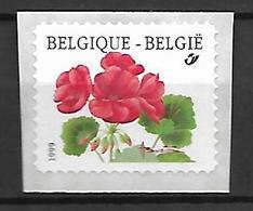 BELGIQUE     -  1999.   Y&T N° 2875 **.   Géranium.  Auto Adhésif Sur Support. - Belgium