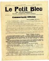 LE PETIT BLEU DE LOT ET GARONNE  OCTOBRE 1918  FEUILLE D INFORMATION RECTO VERSO  -  GUERRE 14 / 18 - 1914-18
