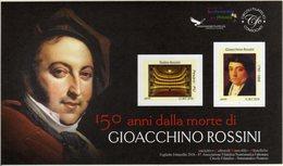 Italia 2018 150° Anniversario Morte Gioachino Rossini Compositore Foglietto Erinnofilo - Musica