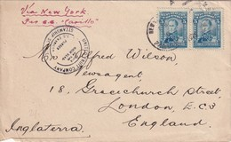 COLOMBIE 1925 LETTRE DE BARRANQUILLA POUR LONDRES VIA NEW-YORK PAR S.S.  CARRILLO - Colombia