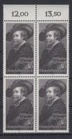 Bund 936 4er Block Mit Oberrnad Peter Paul Rubens 30 Pf Postfrisch - [7] République Fédérale