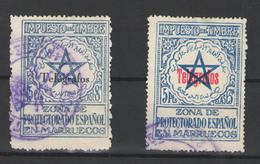 Marruecos Español (Telégrafos) Nº 34D Y 34F. Años 1935/1938 - Maroc Espagnol