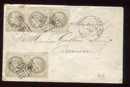 Enveloppe De Nuits-Côte-d'Or Pour Beaune En 1870 , Affranchissement 5 N°27A - N394 - Marcophilie (Lettres)
