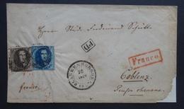 BELGIE    Nr. 6 En 7  Op Briefdeel   Blankenberge / Coblenz  1854       Zie Foto's - Entiers Postaux