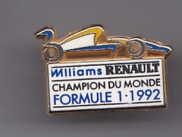 Pin's Williams Renault Champion Du Monde Formule 1 - 1992 Réf  4497 - Automovilismo - F1