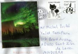 L'Aurore Boréale En Finlande, Lettre De Finlande , Timbre (1. Luokka / Klass) Champignon Trompette De La Mort - Astronomie