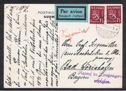 FINLANDIA:  1939  CARTOLINA  POSTALE  PAR  AVION  CON  1 M. (150x2)  -  PER  LA  GERMANIA - Finlandia
