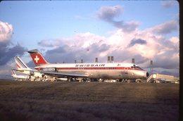 SLIDE / AVION / AIRCRAFT   KODAK  ORIGINAL     SWISSAIR  DC 9  HB-?? - Diapositives (slides)