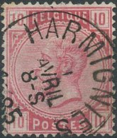 [46735]N° 38, Petite Dent Courte Mais Superbe Obl Centrale 'Harmignies', Nipa +12,5? - 1883 Léopold II