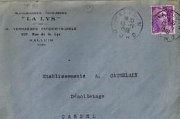 59 - NORD - HALLUIN  - 1948 -  TàD De Type A6 + ENTETE - Marcofilia (sobres)