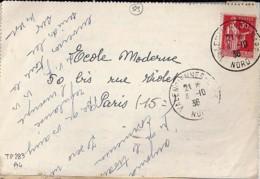 59 - NORD - VALENCIENNES GARE  - 1936 - TàD De Type A4 - Poststempel (Briefe)
