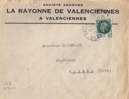"""59 - NORD - VALENCIENNES  - 1944 - EN TETE """"LA RAYONNE DE VALENCIENNES"""" - Poststempel (Briefe)"""