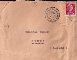 59 - NORD - VALENCIENNES Pl DE LA GARE  - 1956 - TàD DE TYPE A7 - Poststempel (Briefe)