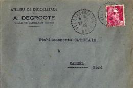 59 - NORD - VILLERS GUISLAIN  - 1946 - TàD DE TYPE B4 + ENTETE - Poststempel (Briefe)