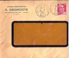 "59 - NORD - VILLERS GUISLAIN  - 1950 - TàD DE TYPE B6 + ENTETE ""DEGROOTE"" - Poststempel (Briefe)"