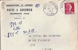 59 - NORD - WALINCOURT  - 1955 - TàD DE TYPE A6 + ENTETE - Poststempel (Briefe)