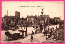 Reims - Place D. Drouet D'Erlon - Ruines - Attelage - Militaria - Animée - Phototypie J.M. COMBIER - Reims