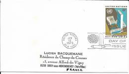Onu, United Nations, Nations Unies,new York, Entier Postal 1973, Env Fdc, 8c ,UN Headquarter, 165x92 - Lettres & Documents