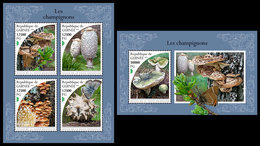 GUINEA 2018 - Mushrooms, Butterflies. M/S + S/S. Official Issue - Insects