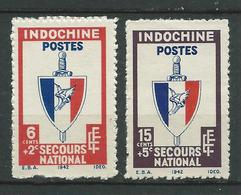 INDOCHINE 1943/44 . N°s 281 Et 282 . Neufs (*) Sans Gomme. - Indochine (1889-1945)