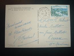 CP MUNEVILLE TP ANDELYS 8F OBL. HEXAGONALE Tiretée 24-8 1956 COUTANCES CP N°10 MANCHE (50) - Poststempel (Briefe)