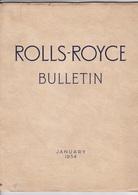 ROLLS-ROYCE Bulletin January 1954.Revue - Auto