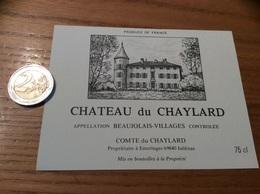 Etiquette Vin «BEAUJOLAIS VILLAGES - CHATEAU DU CHAYLARD - COMTE DU CHAYLARD - ÉMERINGES (69)» - Beaujolais