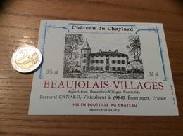 Etiquette Vin «BEAUJOLAIS VILLAGES - CHATEAU DU CHAYLARD - Bernard CANARD - ÉMERINGES (69)» - Beaujolais