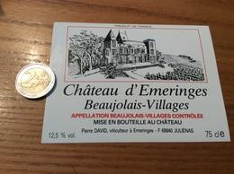 Etiquette Vin «BEAUJOLAIS VILLAGES - Château D'Emeringes - Pierre DAVID - ÉMERINGES (69)» - Beaujolais