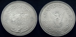 SUDAN -  50 PIASTRES- ANIMAL FAO FRONT EAGLE EMBLEM BACK 1392-1972- UNC KM56.2(small Design) - Soudan