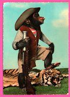 Cp Dentelée - Monkey - Singe Humanisé Avec Fusil - Chasseur - Peau De Tigre - Cowboy - KRUGER - 1968 - Monos