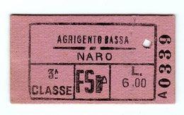 D0482 BIGLIETTO TRASPORTO TRENO CON FASCETTO FASCIO LITTORIO PERCORSO AGRIGENTO NARO - Railway