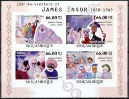 [34397]N° 3444/47, Mozambique - ND/imperf - Personnalite, James Ensor, Arsiste-peintre Belge, Details De Tableaux, Masqu - Mozambique