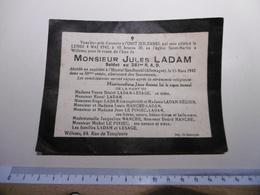 18WH - Jules Ladam Soldat 261ème RAD Dcd Captivité Allemagne Sandbostel Enterré Willems - Décès