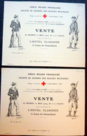 CROIX ROUGE 2 CARTES INVITATION  SECOURS AUX BLESSES MILITAIRES VENTE MAI 1914 HOTEL CLARIDGE - Marcophilie (Lettres)