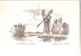 England & Circulated, Norfolk Windmill By Judges, Norwich To Weybridge 1973  (6688) - Windmills