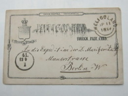 1886 , Ganzsache  Nach Berlin - Héligoland