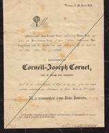 Décès De Corneil Joseph Cornet Verviers 1870 Saint Remacle - Avvisi Di Necrologio