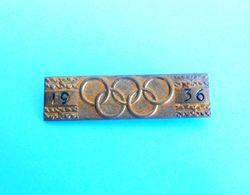 OLYMPIC GAMES BERLIN 1936. - Original Vintage Pin * LARGE SIZE * Jeux Olympiques Olympia Olympiade Olympiad Olimpici #1 - Olympic Games
