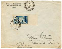 France N° 336 Y. Et T. Cachet A4 Paris Trocadéro Exposition 1937 Du 09/09/1937 - Marcophilie (Lettres)