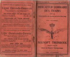 RARE Annuaire Indicateur Sommaire Des Trains Chemins De Fer De L'état Belge Juillet Septembre 1914 - Chemin De Fer