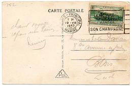 France N° 339 Y. Et T. Flamme Flier Reims Principal Marne Du 19/07/1937 - Marcophilie (Lettres)