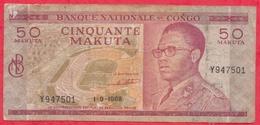 Congo (RDC) 50 Makuta Du 01/09/1968 ---G/TB+ (FORTE COTE EN UNC° - Congo